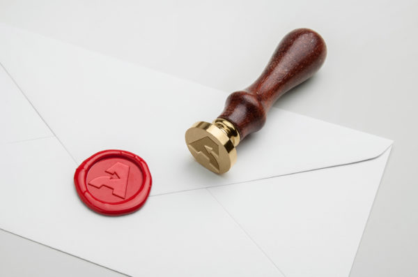 Logo d'Analystik en cire pour cacheter une lettre